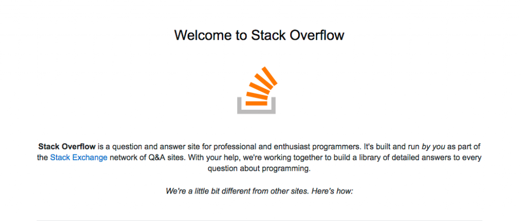 StackOverflow Welcome Page